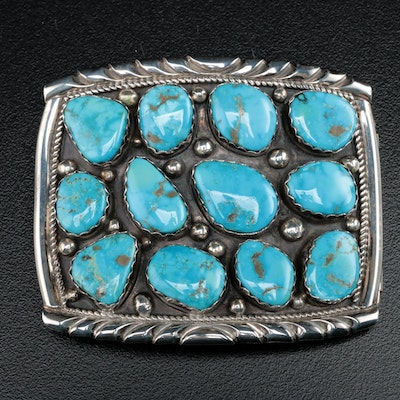 Harry Spencer Navajo Diné Sterling Silver and Turquoise Belt Buckle