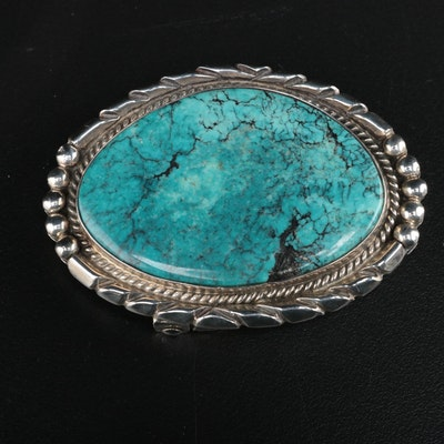 Lennie Mariano Navajo Diné Sterling Silver Turquoise Belt Buckle