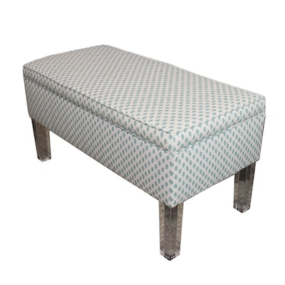 Upholstered Storage Bench on Raised Acrylic Legs, Contemporary
