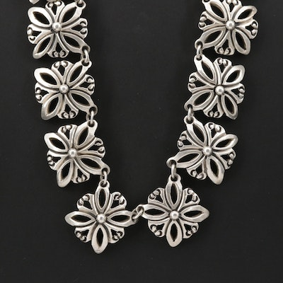 Taxco Sterling Silver Floral Link Necklace