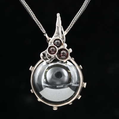 Sterling Hematite and Garnet Pendant Necklace