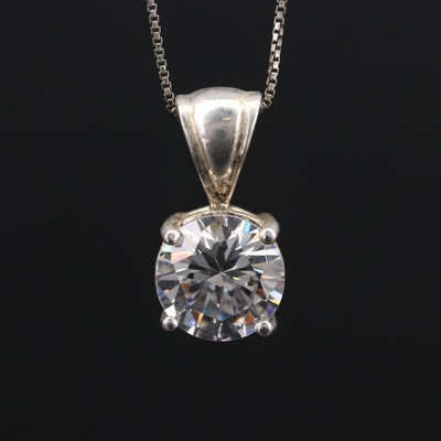 Sterling Silver Cubic Zirconia Pendant on Box Chain