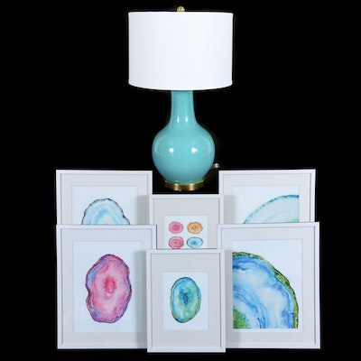 Modern Ceramic Table Lamp and Giclée Prints of Sliced Agates