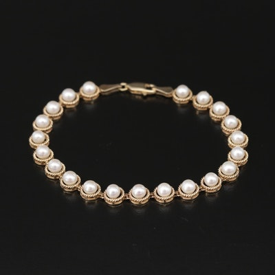 10K Yellow Gold Cultured Pearl Strand Bracelet