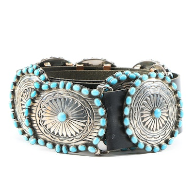 Mabel Kee Navajo Diné Sterling Silver Turquoise and Leather Concho Belt