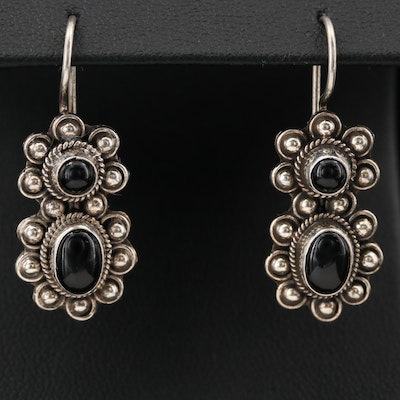 Southwestern Style Sterling Black Onyx Earrings