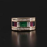 14K Yellow Gold Emerald, Sapphire, Ruby and Diamond Ring