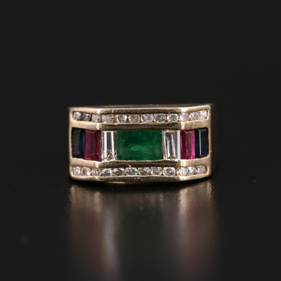 14K Yellow Gold Emerald, Sapphire, Ruby and Diamond Ring