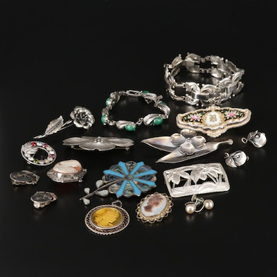 Assorted Vintage Sterling Jewelry Featuring Coro Pegasus Bracelet and
