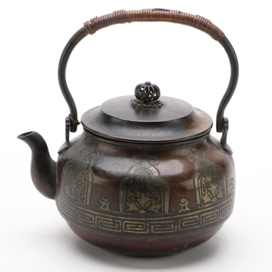 Bronze Tone Teapot With Brass Inlay and Reed Wrapped Handle