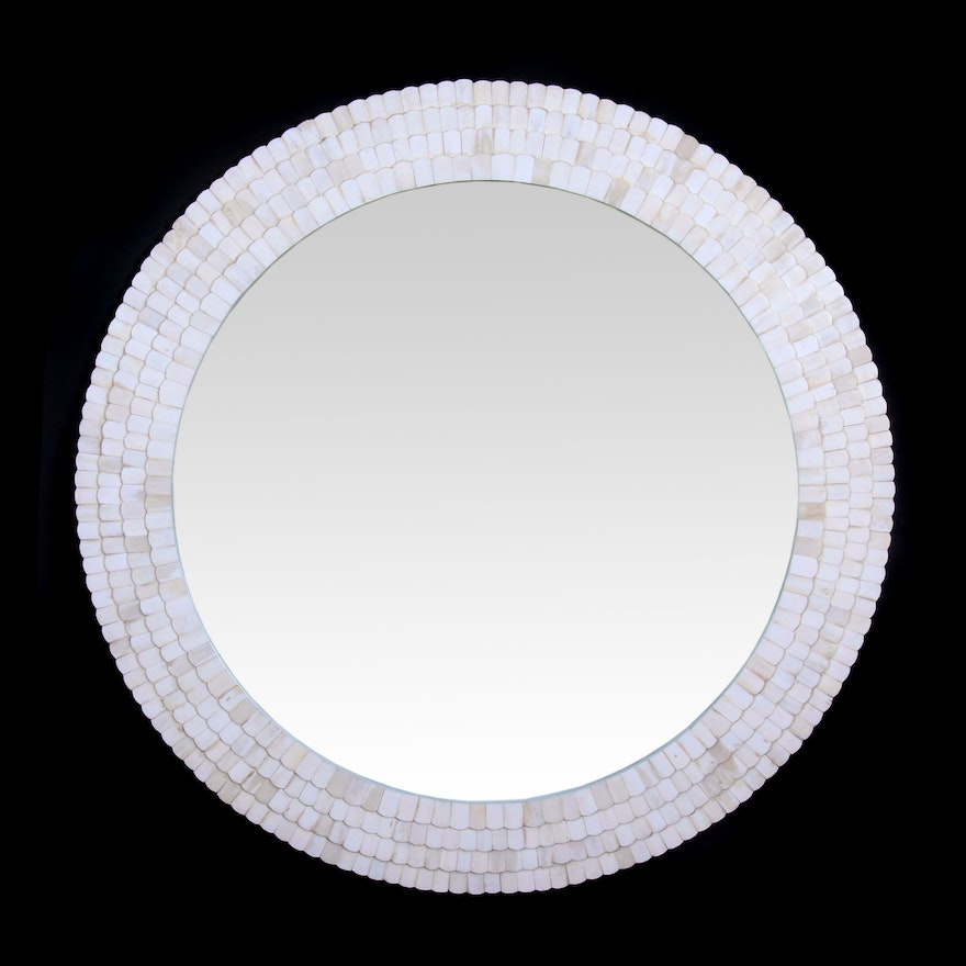 White Layered Tile Wall Mirror, Contemporary