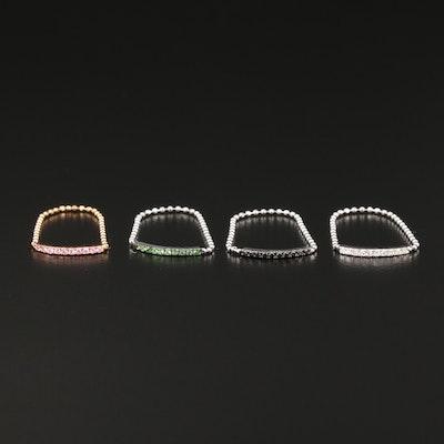 18K Diamond, Tsavorite Garnet and Sapphire Chain Stacking Rings
