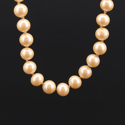 Imitation Pearl Individually Knotted Necklace with Sterling Silver Clasp