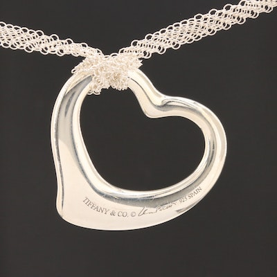 "Elsa Peretti for Tiffany & Co. ""Open Heart"" Sterling Silver Mesh Necklace"