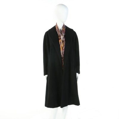 Black Cashmere Blend Coat with Paisley Wrap Scarf, circa 1950