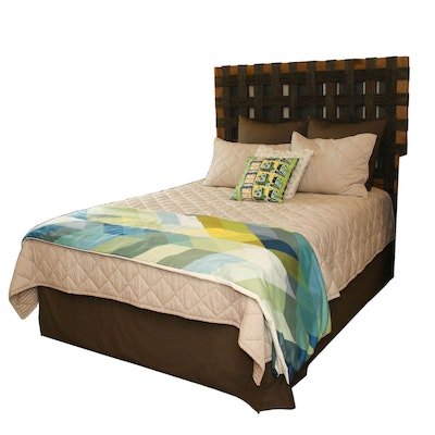 Woven Rattan Queen Size Bedframe with Englewood Southbrook Firm Mattress