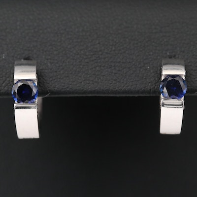14K White Gold Blue Sapphire and Cubic Zirconia Huggie Earrings