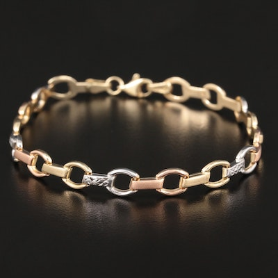 14K Rose, Yellow and White Gold Link Bracelet
