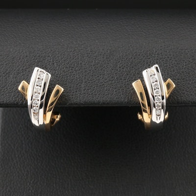 14K White with Yellow Gold Diamond Earrings