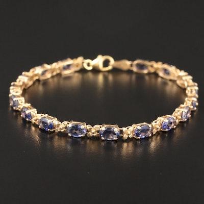 14K Yellow Gold Iolite Bracelet