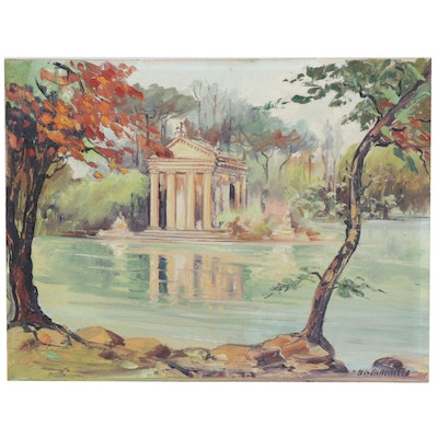 Architectural Landscape Oil Painting, Mid 20th Century