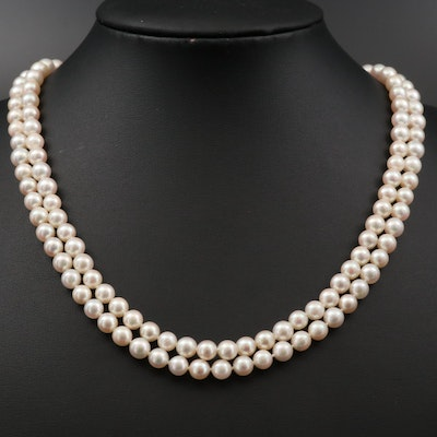 Mikimoto Single Strand Cultured Pearl Necklace with Sterling Silver Clasp