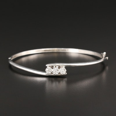 14K White Gold Diamond Bypass Bracelet