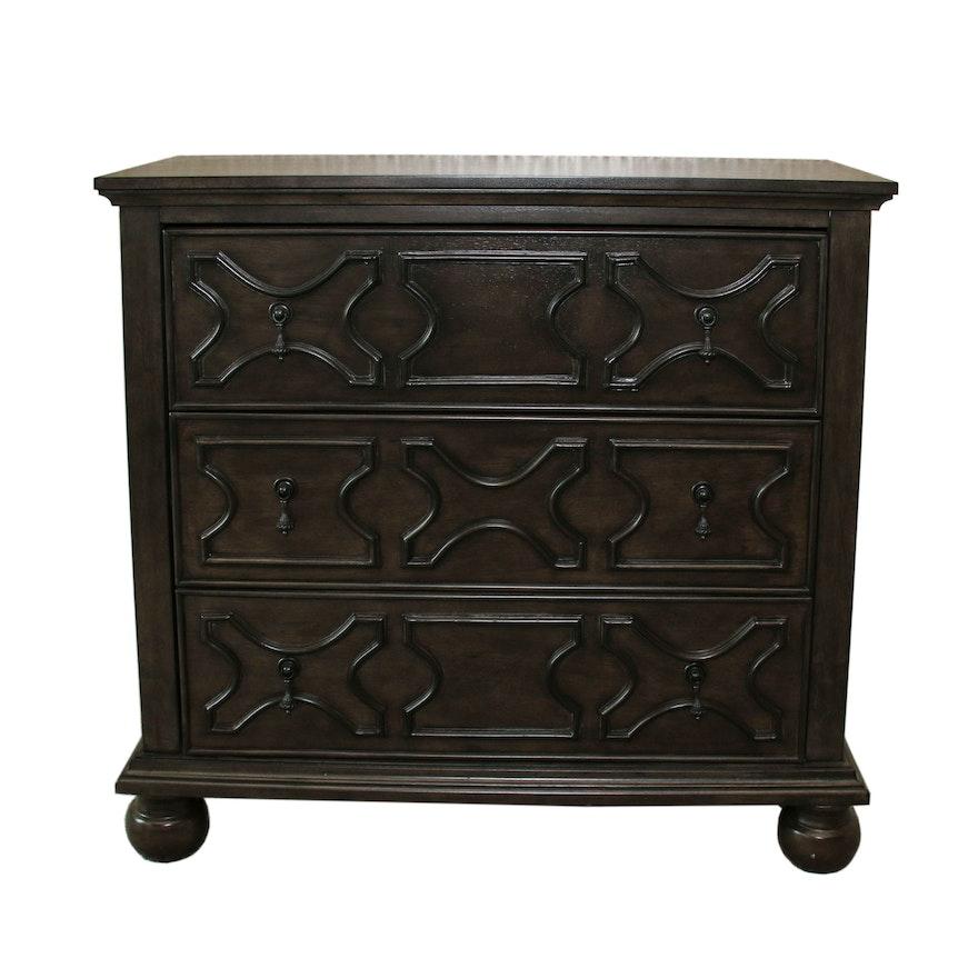 Raised Panel 3-Drawer Wooden Dresser, Contemporary