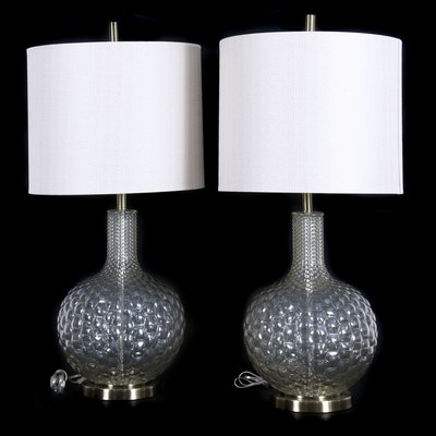 Modern Glass Table Lamps in Honeycomb Pattern