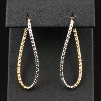 14K Yellow and White Gold Elongated Hoop Earrings