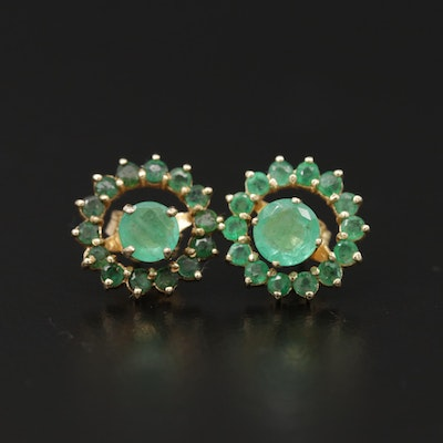 14K and 18K Yellow Gold Emerald Stud Earrings with 14K Emerald Jackets