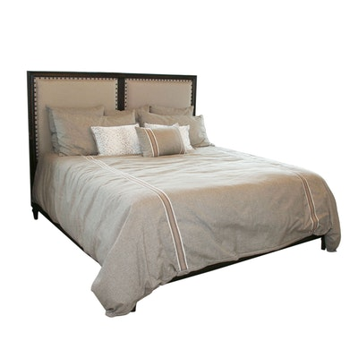 Linen Upholstered Kind Size Headboard with Englebrook Southbrook Firm Mattress