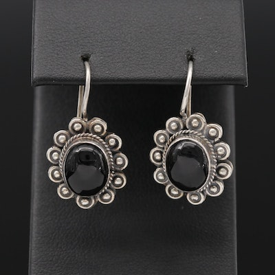 Southwestern Style Sterling Black Onyx Dangle Earrings