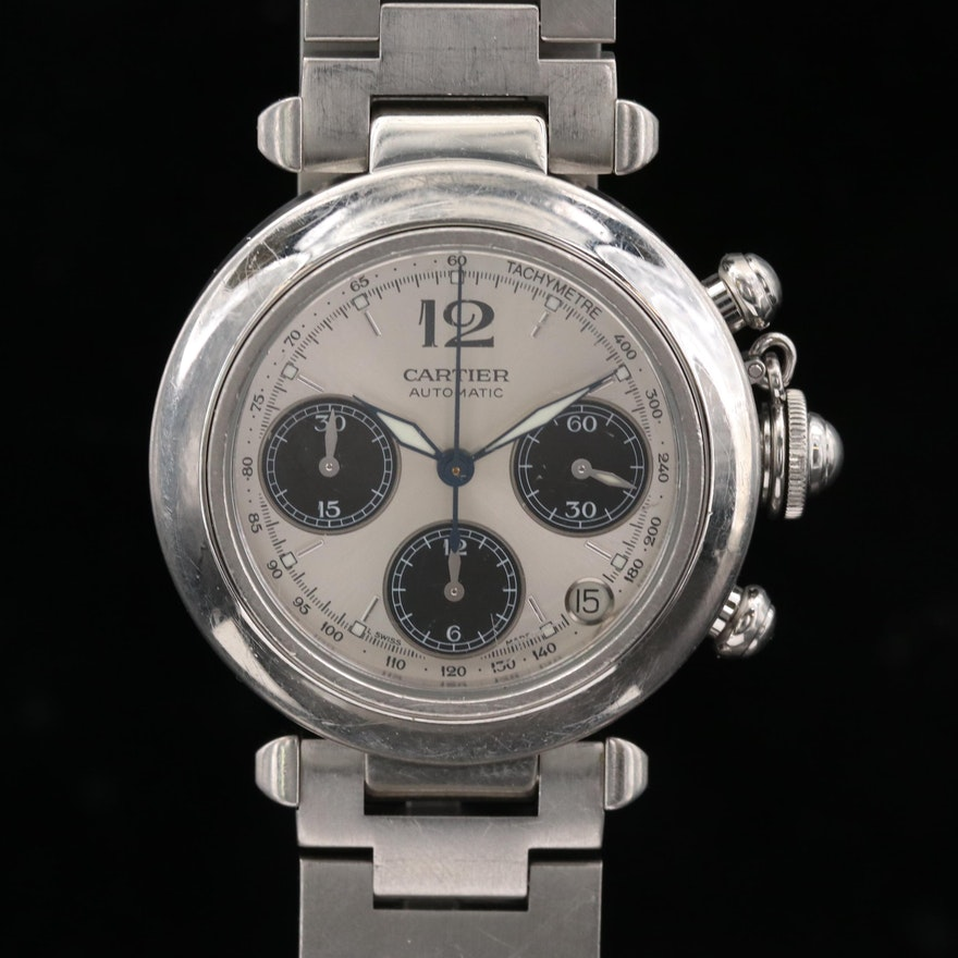 Cartier Pasha Stainless Steel Automatic Chronograph Wristwatch