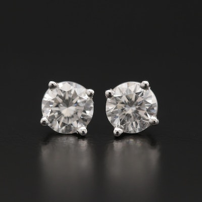 14K White Gold 0.84 CTW Diamond Stud Earrings with GIA Reports