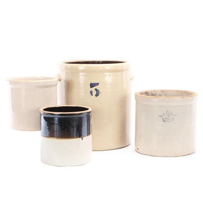 "Decorative Stoneware Crocks Including ""2 Gallon"" Robinson Ransbottom"