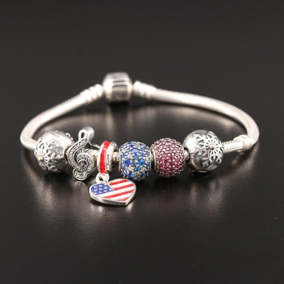 Pandora Sterling Charm Bracelet with Treble Clef, Flag Heart and Snowflake
