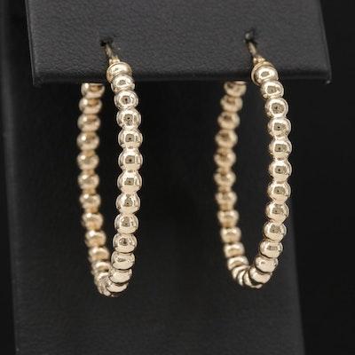 14K Hoop Earrings with Beaded Design