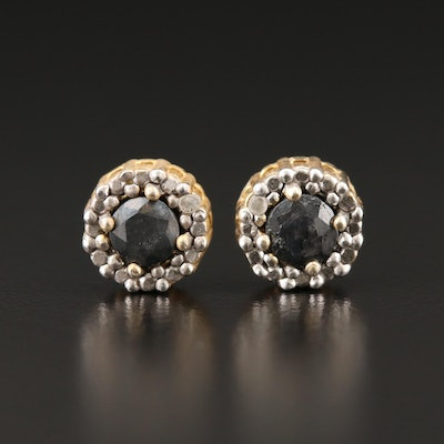 Sterling Silver Diamond and Corundum Earrings