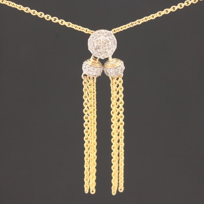 10K Yellow Gold Diamond Lariat Necklace