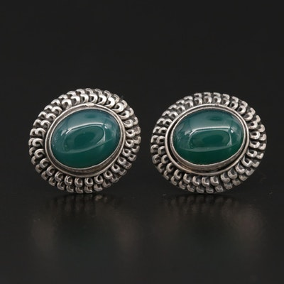 Sterling Silver Green Chalcedony Button Earrings