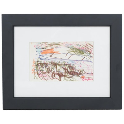 Paul Chidlaw Abstract Oil Pastel Drawing, Mid to Late 20th Century