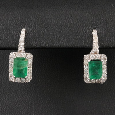 Vintage 14K White Gold Garnet and Diamond Earrings