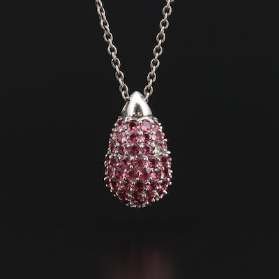 Sterling Silver Tourmaline Pendant on Cable Chain
