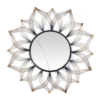 Metal Starburst Wall Mirror in Brushed Gold and Bronze Tones