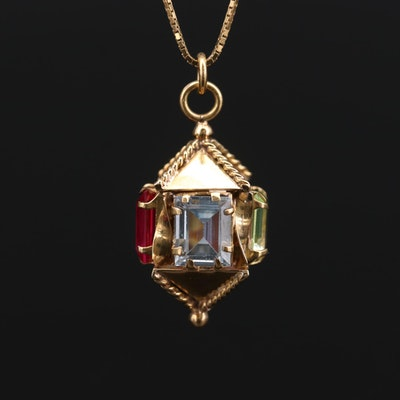 14K Yellow Gold Spinel and Ruby Pendant Necklace