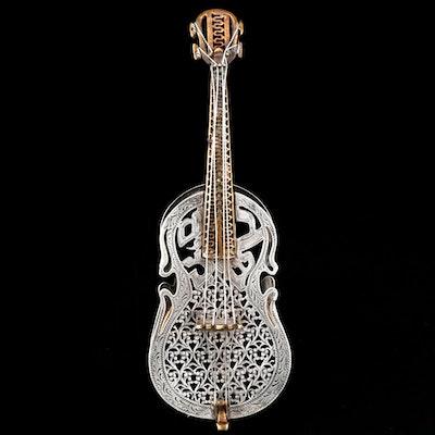Netafim Sterling Silver Israeli Cello Form Spice Box