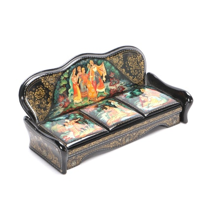 Russian Hand Painted Lacquer Box, Mid-20th Century
