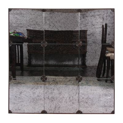 Smoked Glass Wall Mirror with Oil Rubbed Bronze Medallions