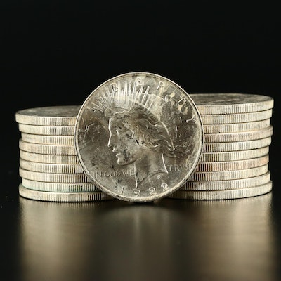 Roll of Twenty Uncirculated 1922 Silver Peace Dollars
